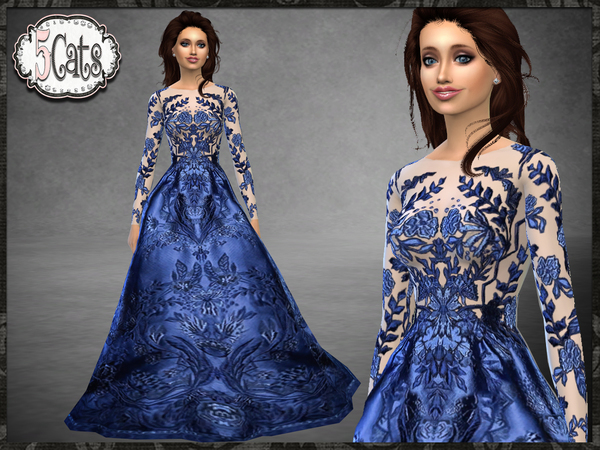 ZM Embroidered Floral Full Long Gown By Five5Cats