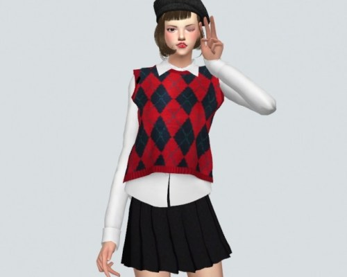 Checked Knit Vest With Shirt
