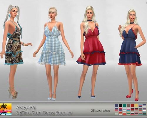 Astya96 SgiSims Siren Dress Conversion Recolor