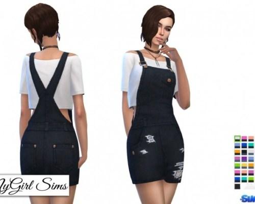 Overall Mini Dress with Crop Tee