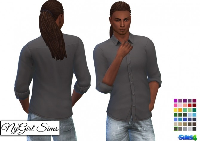 Untucked Rolled Sleeve Button Up