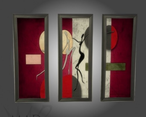Set of modern triptychs by Mad