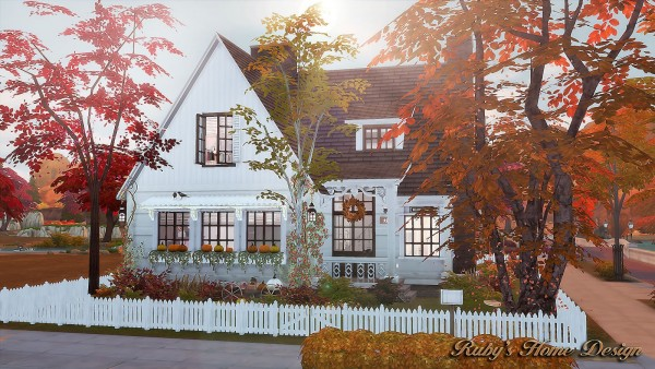 Fall Leave Wallpaper Ruby S Home Design Autumn Cottage Sims 4 Downloads