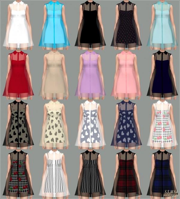 SIMS4 Marigold SeeThrough Button Up Dress  Sims 4 Downloads