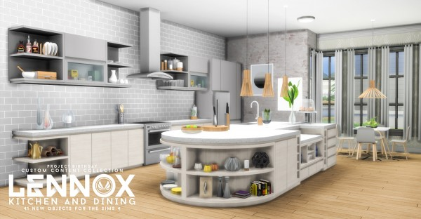 Simsational designs Lennox Kitchen And Dining Set  Sims 4 Downloads