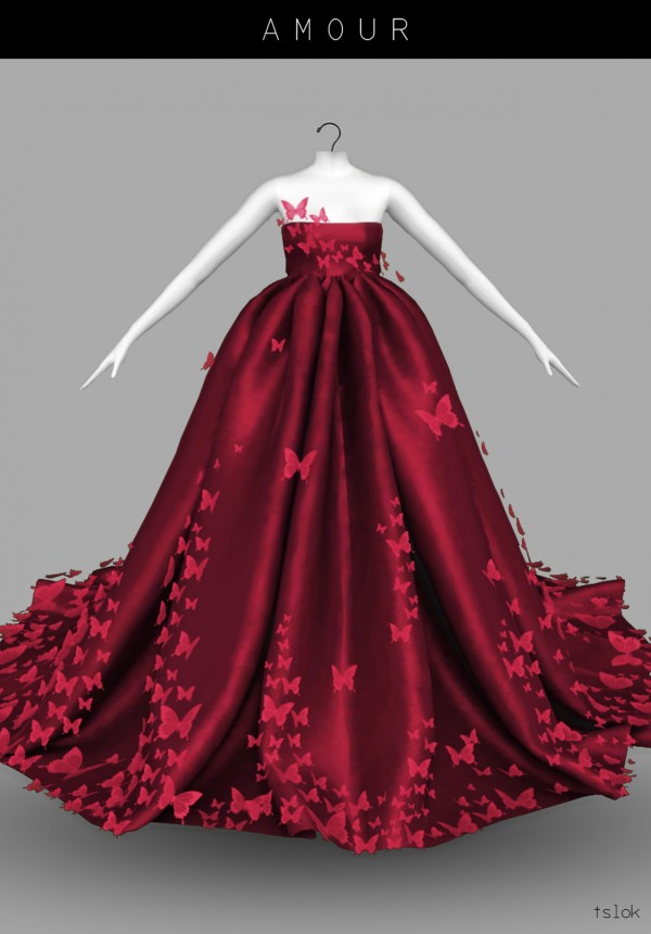 Tslok Amour butterfly dress  Sims 4 Downloads