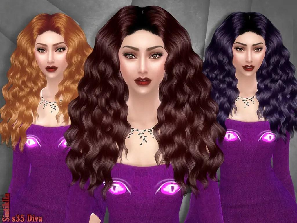 Sims 4 Hairs Sintiklia Sims Diva 35 Hair