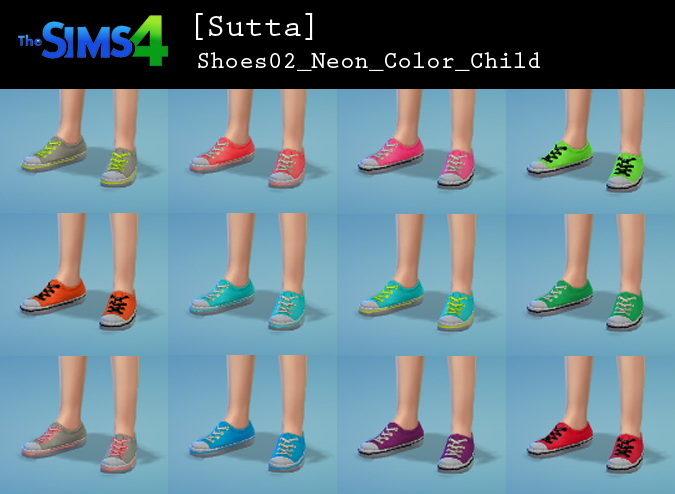Neon shoes for kids at Sutta Sims4  Sims 4 Updates