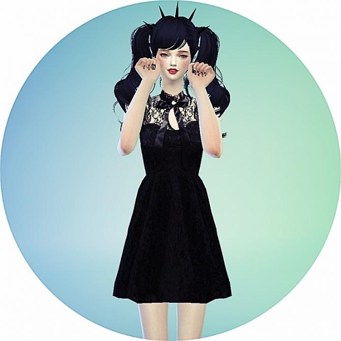 Ribbon Lace Black Dress At Marigold Sims 4 Updates