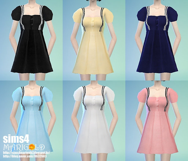 Puff sleeve one piece at Marigold  Sims 4 Updates