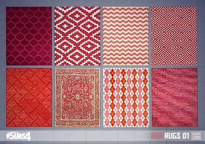 Red rugs 01 at Oh My Sims 4  Sims 4 Updates