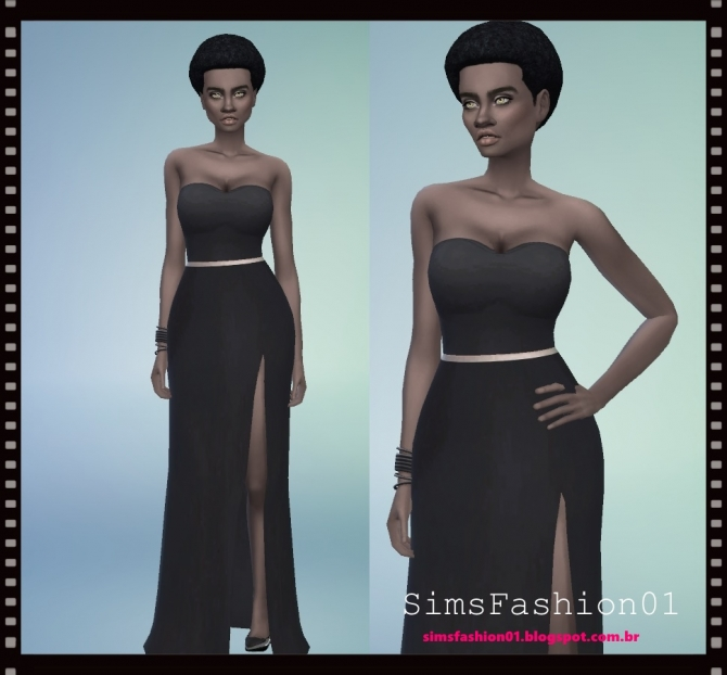 Long Slit Dress at Sims Fashion01  Sims 4 Updates