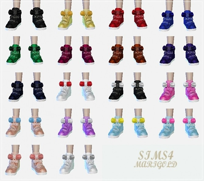 Child bow high top sneakers at Marigold  Sims 4 Updates
