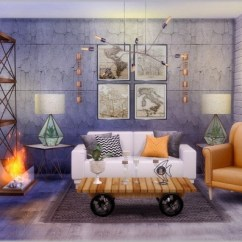 Denim Living Room Furniture Modern Prints Fusion Industrial Livingroom At Simcredible! Designs 4 ...