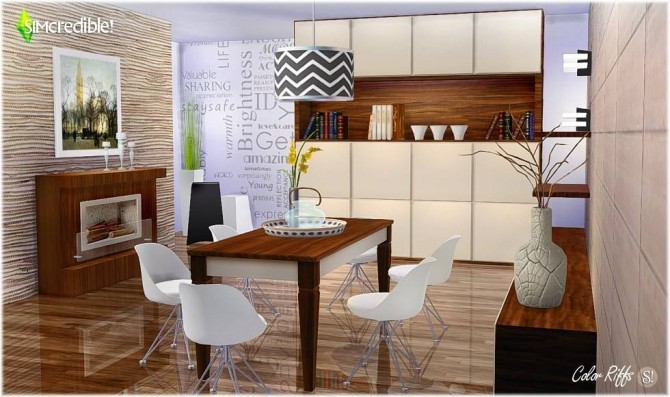 Color Riffs dining room at SIMcredible Designs 4  Sims 4