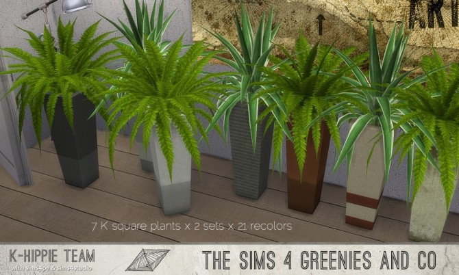 K Square Plants Agave Fern X 3 Sets At K Hippie Sims 4