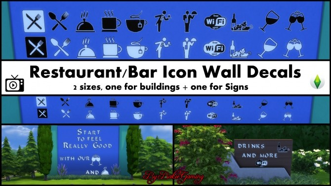 Restaurant/Bar Icon Wall Decals Pack by Bakie at Mod The
