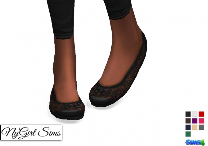 Lace And Bow Ballet Flats At NyGirl Sims Sims 4 Updates