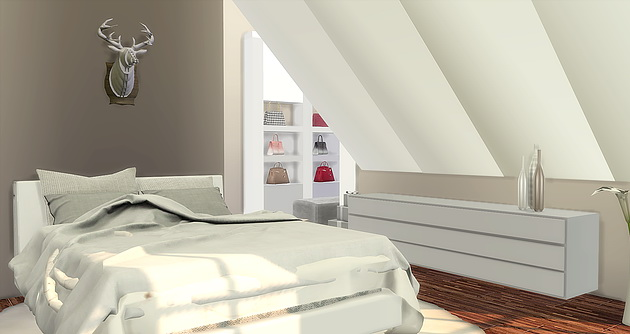 Modern Attic Bedroom at Caeley Sims  Sims 4 Updates