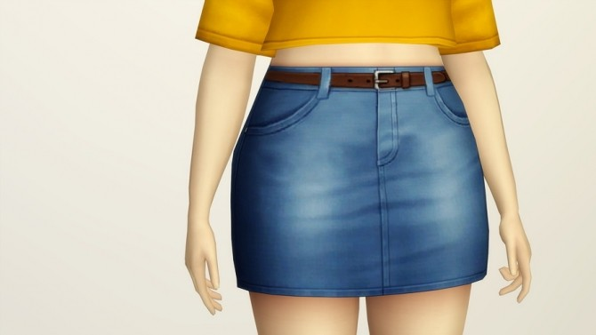 Highrise Denim Skirts Belt 20 colors at Rusty Nail  Sims