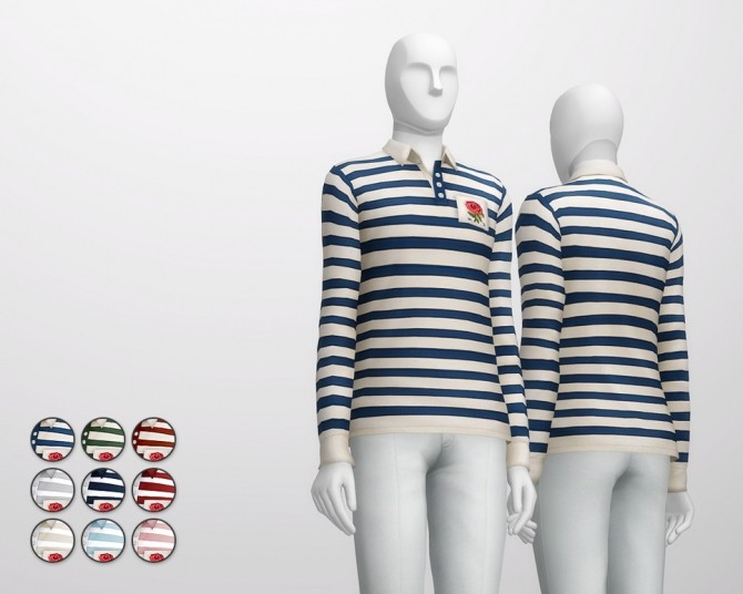 Striped appliqued cotton jersey polo shirt at Rusty Nail