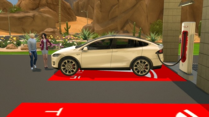 Tesla Model X and Supercharger at LorySims  Sims 4 Updates