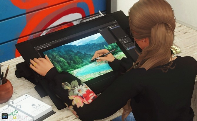 Cintiq Poses Amp Pen Accessory At In A Bad Romance Sims 4