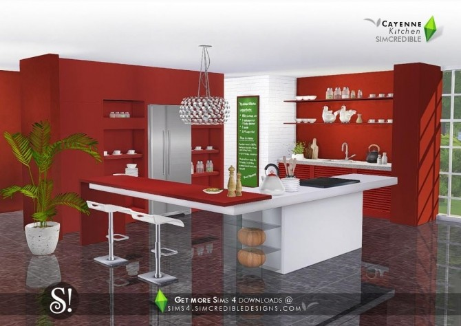 Cayenne kitchen at SIMcredible Designs 4  Sims 4 Updates