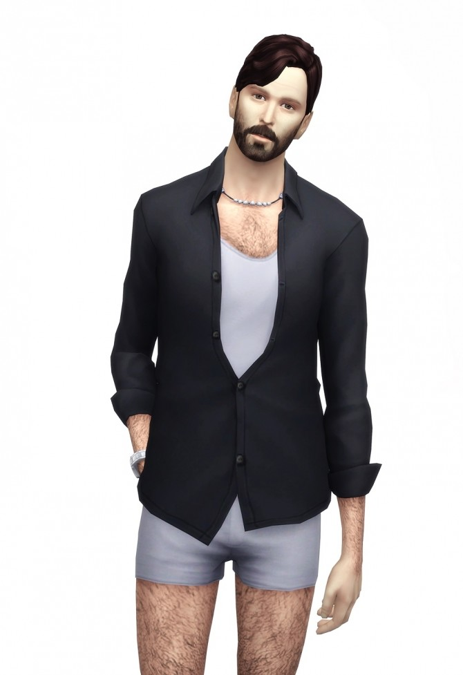 Hunky open shirt with tshirt 25 colors at Rusty Nail  Sims 4 Updates