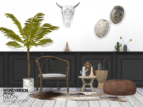Neon Livingroom Decorations by wondymoon at TSR  Sims 4