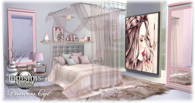 Princess Cyl girly bedroom at Jomsims Creations  Sims 4