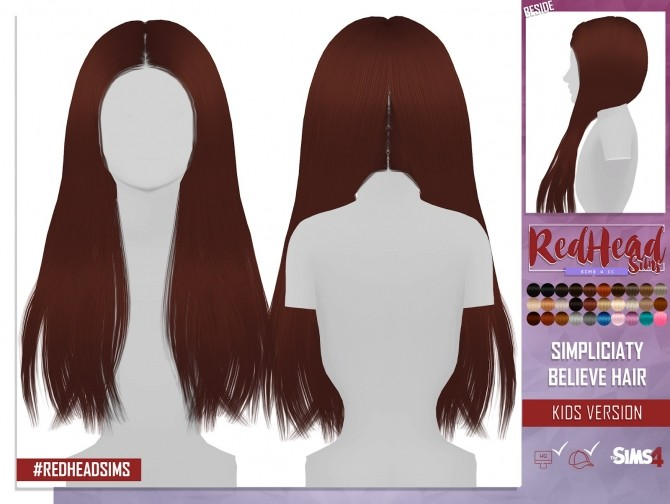 SIMPLICIATY BELIEVE HAIR KIDS VERSION At REDHEADSIMS Coupure Electrique Sims 4 Updates