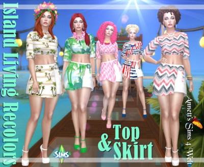Island Living Top & Skirt Recolors at Annett's Sims 4 Welt ...