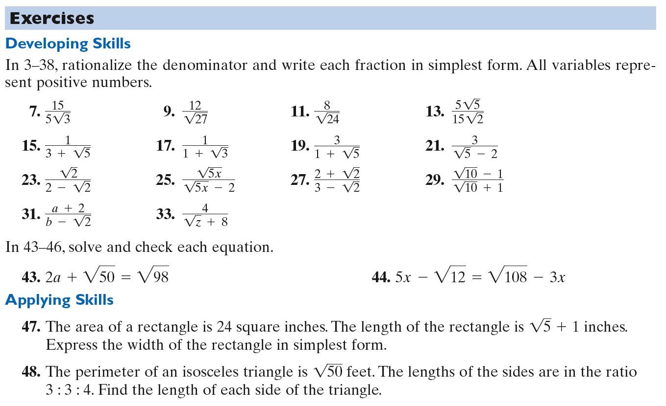 Homework Rationalizing The Denominator
