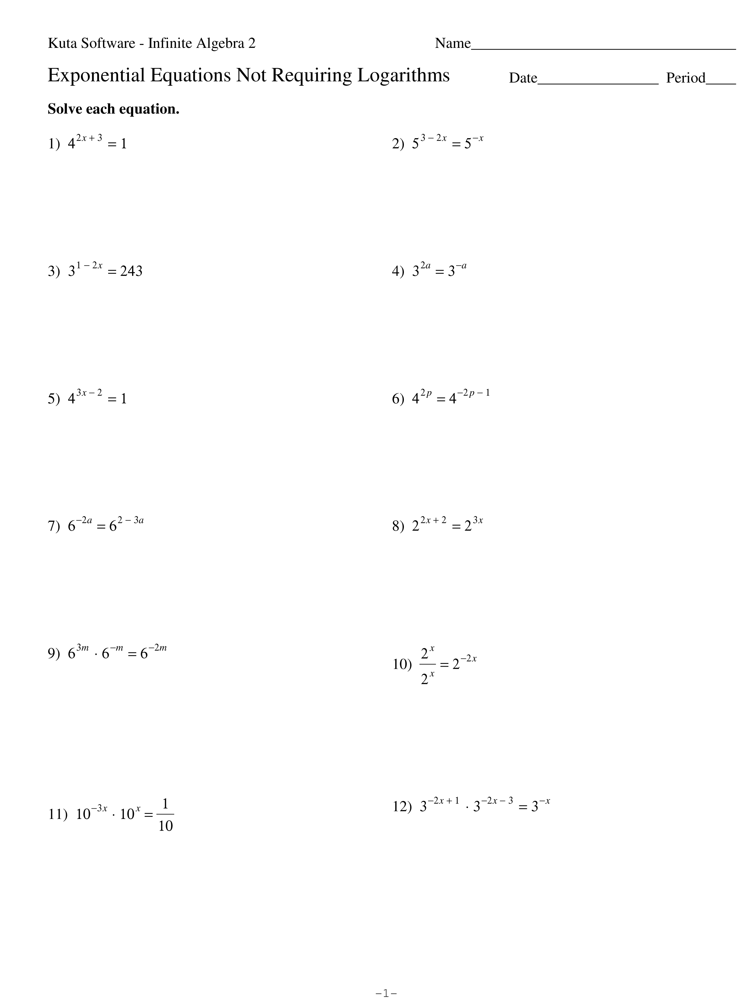 Solving Exponential Equations With Logarithms Worksheet