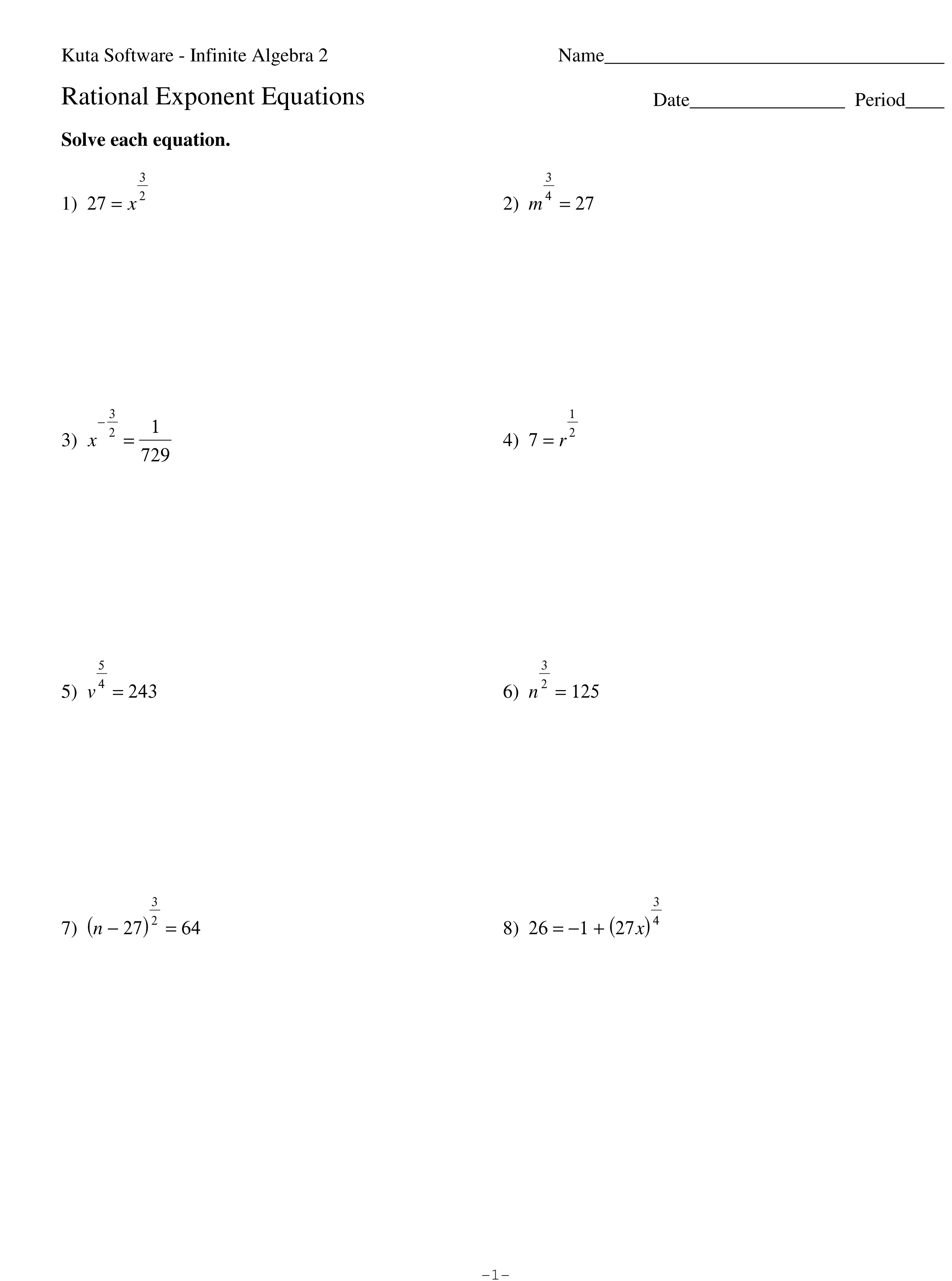 Fractional Exponents Worksheet 3