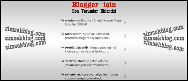 blogger eklentileri, son yorumlar, ana sayfada son yorumları gösterme
