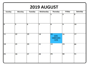 2019 August Caldendar