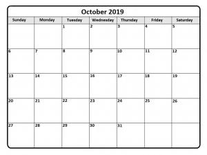 2019 October Calendar
