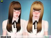 high spun ponytail with bangs