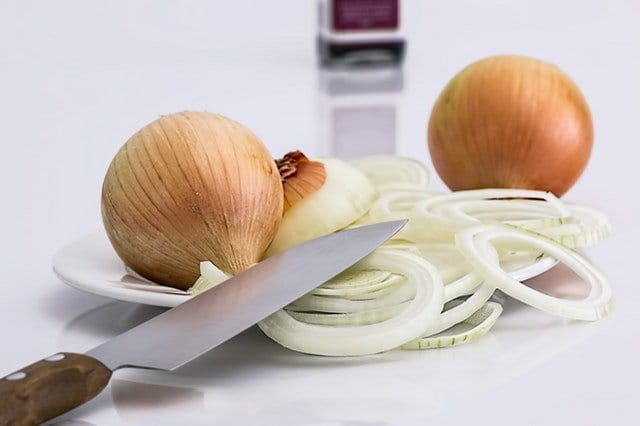 Kitchen issues stack of onions