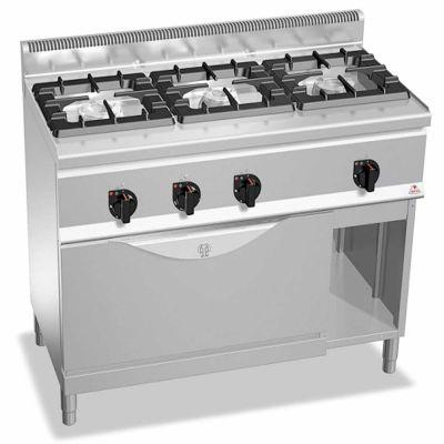 Cocina industrial 3 fuegos a gas y horno maxi Berto's G6F3H12+T