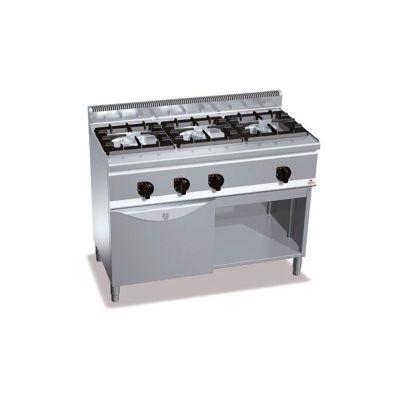 Cocina industrial 3 fuegos y horno a gas Berto's G6F3H12+FG1