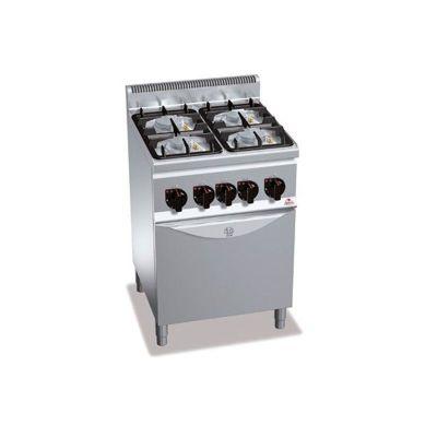 Cocina industrial 4 fuegos a gas y horno eléctrico Berto's G6F4PW+FE1