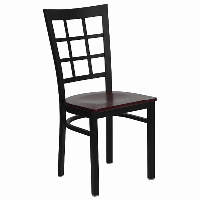 black metal window back chair