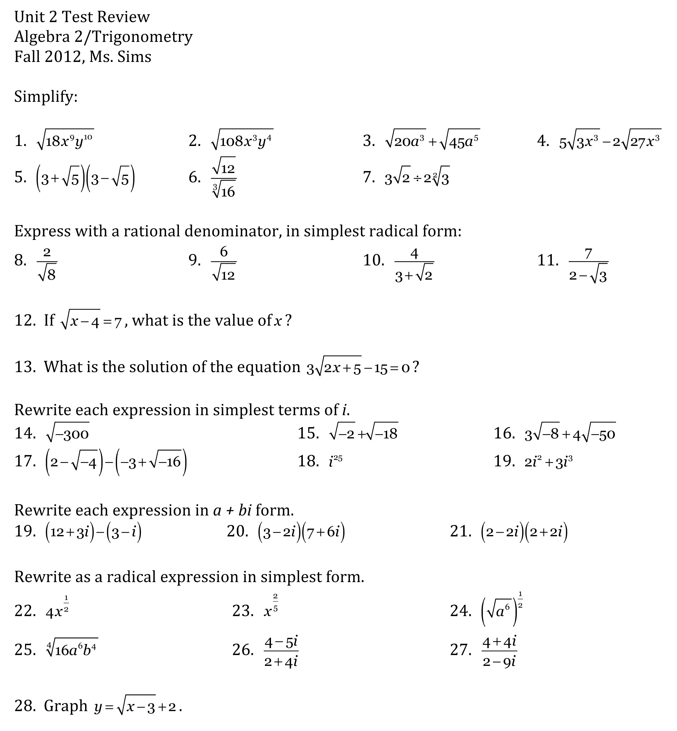 Unit 2 R Dic L Functi S Lgebr Ii Trig Ometry