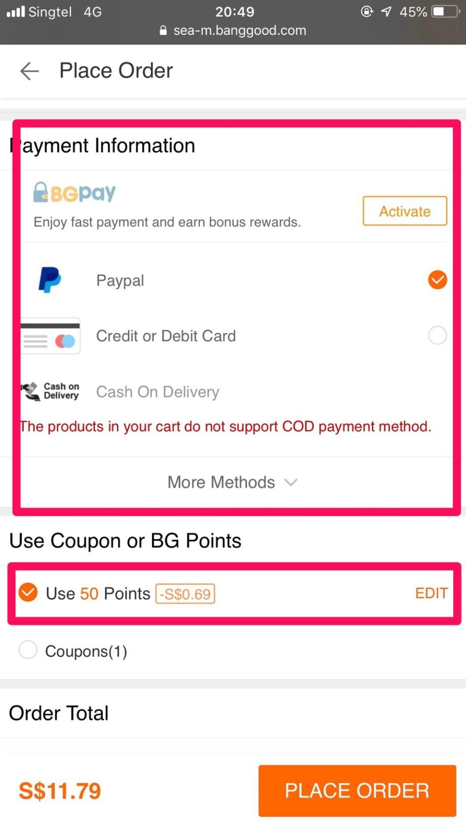 banggood payment menu