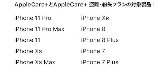 Apple公式サイトAppleCare+対象リスト