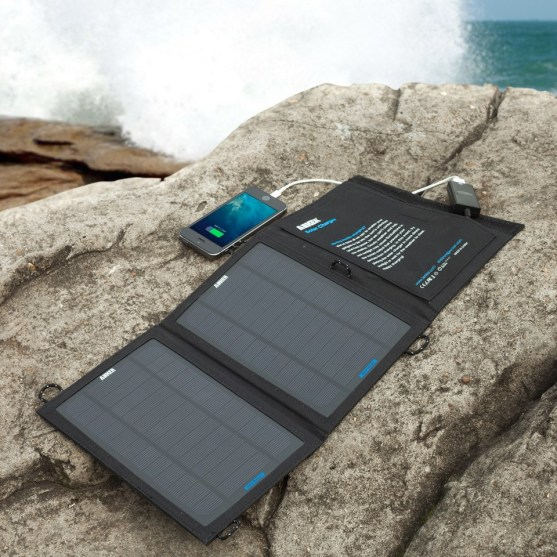 solar charger on rock