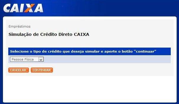 Simulação de Crédito Direto CAIXA